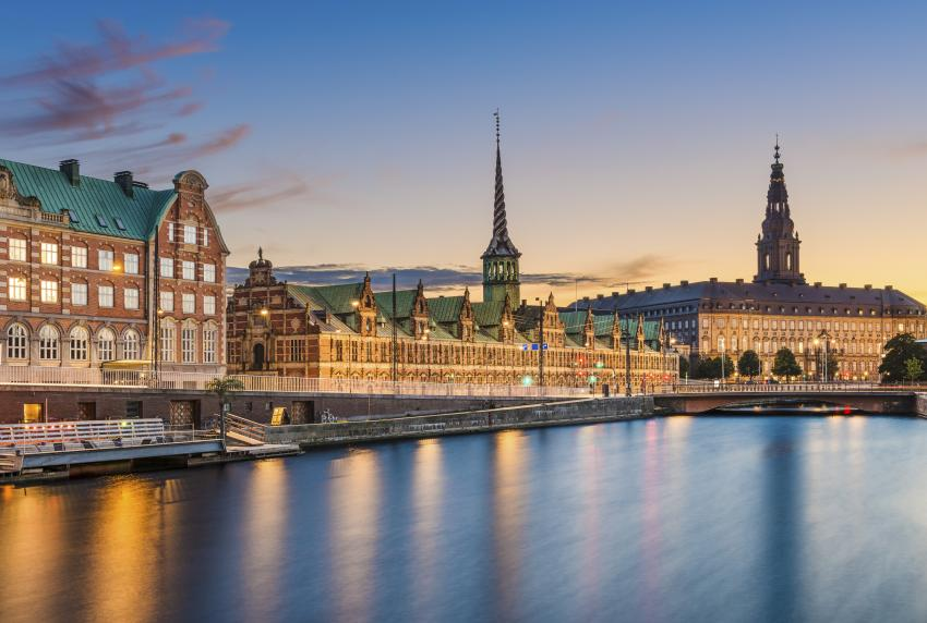The old stock exchange (center) sits on one of Copenhagen's canals